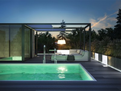 Oświetlenie tarasu na dachu.